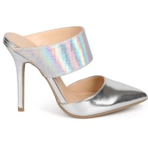 Shoes - Adorah Silver Holographic Pointed Toe Mule